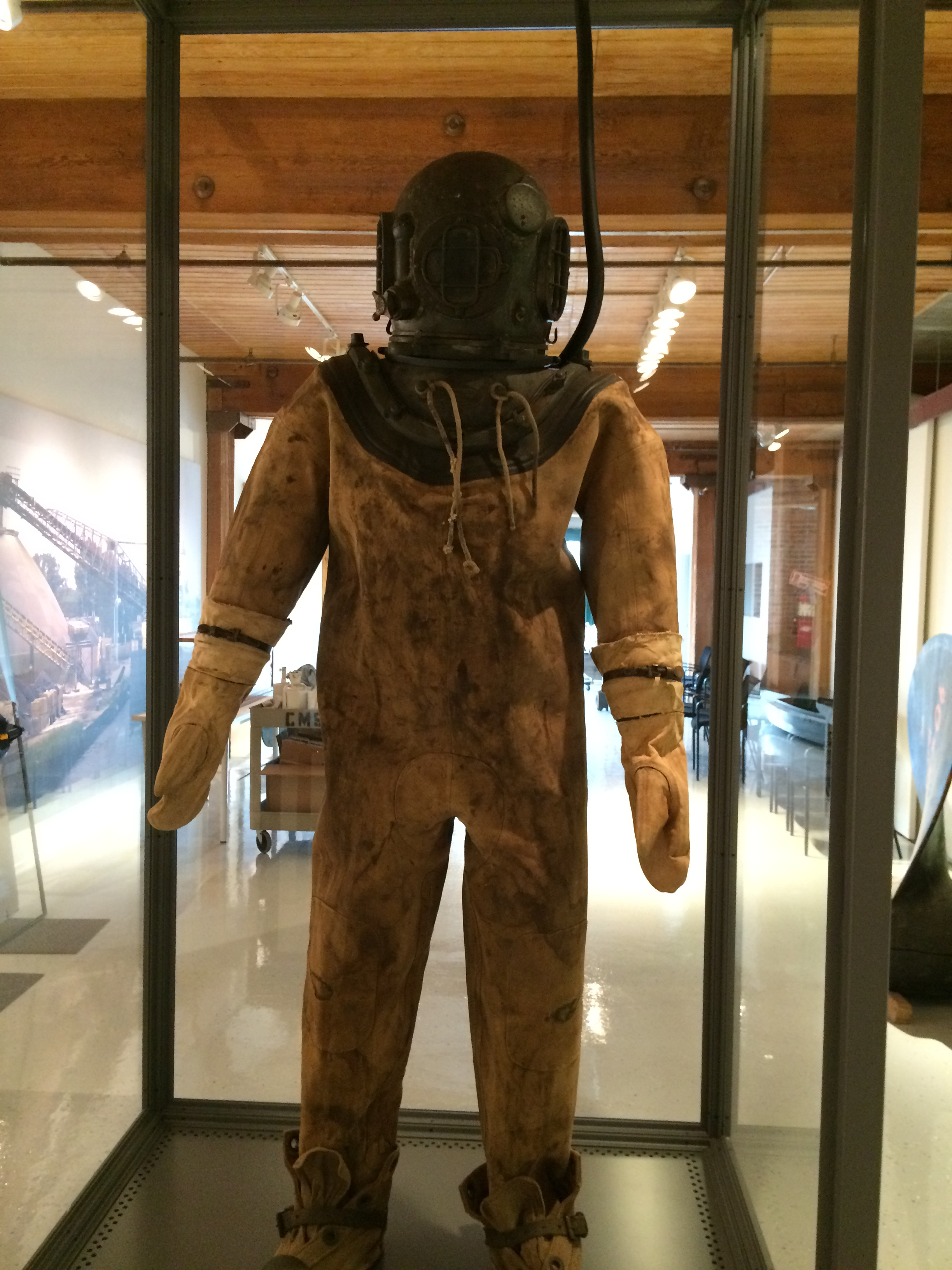One of the museum's most popular items is this original dive suit used during recovery efforts following the U.S.S. Eastland disaster in 1915. The ship capsized at port, killing over 800 people. Image courtesy of the Chicago Maritime Museum.