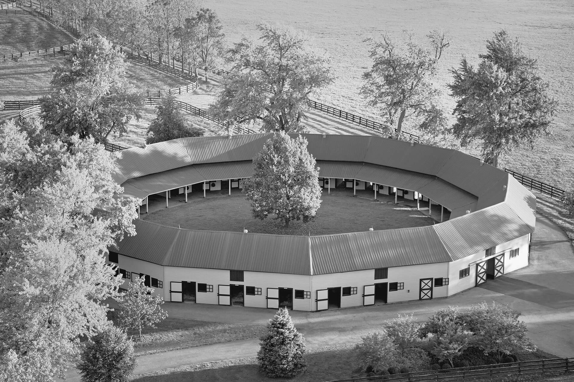 The iconic circular stable that houses several champion sires and broodmares.