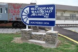 New location sign at the restored station of the Bluegrass Scenic Railroad and Museum.