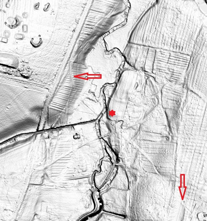 LiDAR, red arrows point out the cutting of the railway descending the west bank of the Witham and crossing over the south driveway. The red star is the tour stop.