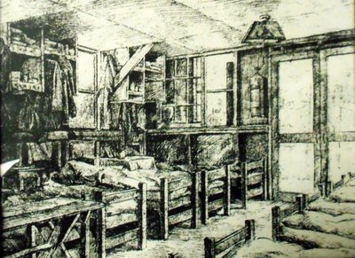 A sketch of what the barracks looked like at Camp Aliceville.