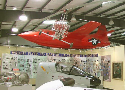 This is a replica of the orange x-1 aircraft that is known to have been the first to break the speed of sound.