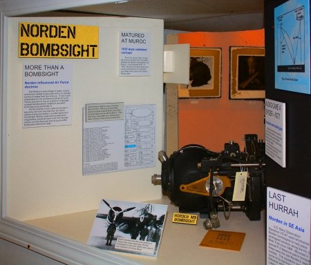 This is a display of the Norden Bombsight that was used during WWII.