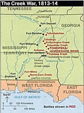 Map of Creek War battle sites