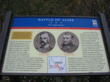 Marker on site of battle in Aldie, Virginia