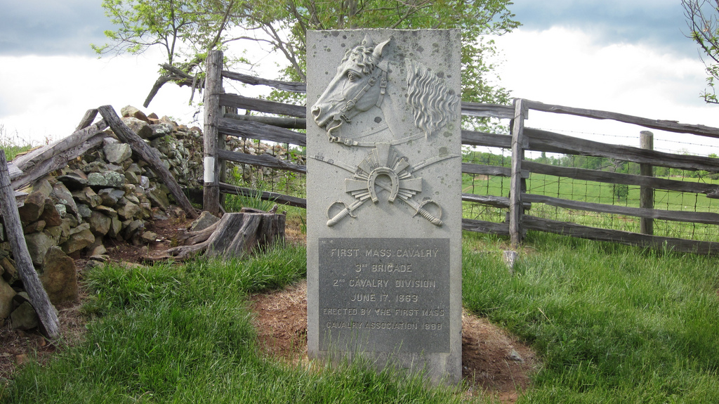 Marker honoring the 1st Massachusetts cavalry which was decimated during the battle.