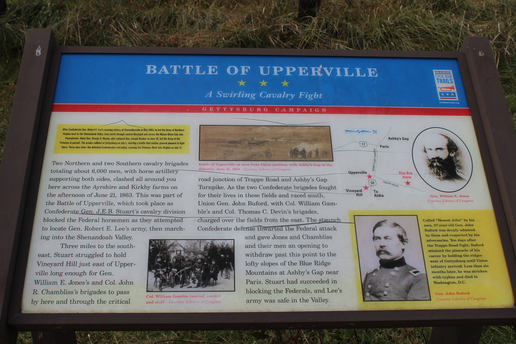 This historical marker offers a short summary of the Battle of Upperville