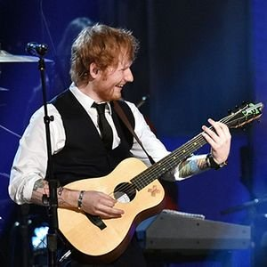 Ed Sheeran with his Martin