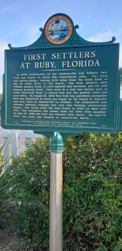 First Settlers at Ruby, Florida Historical Marker