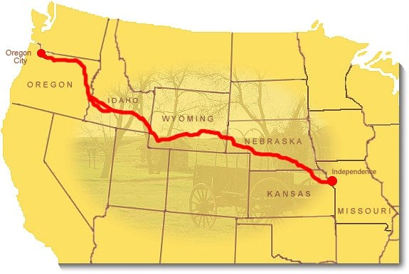 A map of the Oregon Trail. Register Cliff is located in eastern Wyoming.