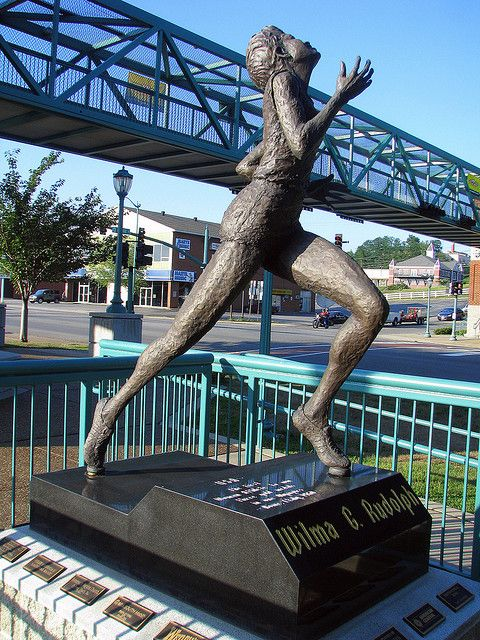 The statue of Wilma Rudolph is located at the southern end of the Cuberland River Walk