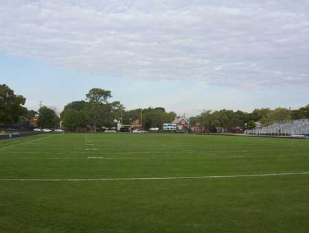 Amos A. Stagg Stadium was built at the location of the Shewbridge Field, once home to the Chicago Colleens
