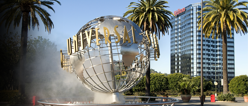 The Universal logo as a statue at their studios.