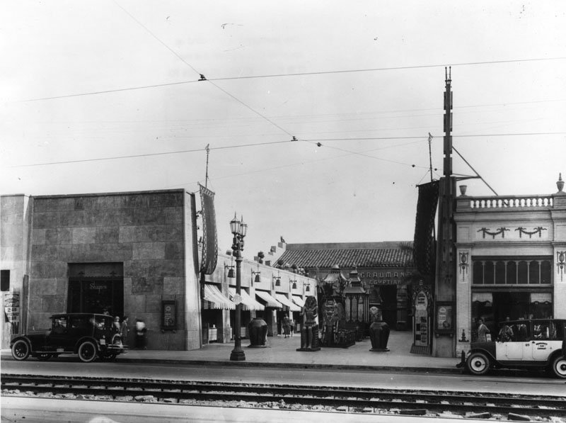 A railway in front of the theater in 1924.