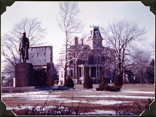 James Millikin Homestead with Stephen Decatur statue on grounds. This statute, which celebrates the post-revolutionary hero and name-bearer of town, was created on the Homestead grounds in 1952, but moved to its present day location downtown in 1992.