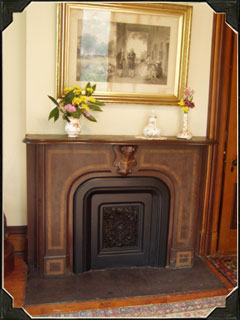 Fireplaces can be found in every room at the Millikin Homestead. This particular fireplace can be found in the master bedroom.
