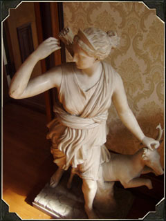 This particular statue showcases the many Italian artistic elements found in the Millikin Homestead.