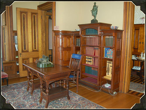 The library, found on the first floor, has undergone no renovations and is historically accurate to the time period.