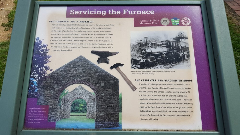 One of the informational signs that helps visitors along the self-guided tour at Lock Ridge Park.