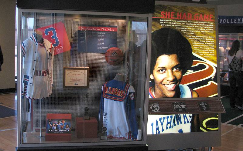 This display honors Woodard and can be seen at Allen Fieldhouse at the University of Kansas.