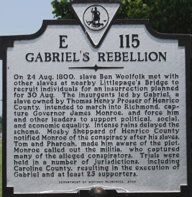Historical Marker of Gabriel's Rebellion on Virginia State Route 301