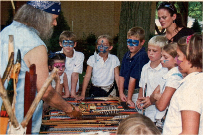 Richard Blue Cloud Kidd, a shawnee and native of Kentucky, teaches children how to make arrows, showing them the differences between Cherokee and Shawnee arrows in the process. Originally featured in August 2010 Kentucky Living Magazine. Creations by