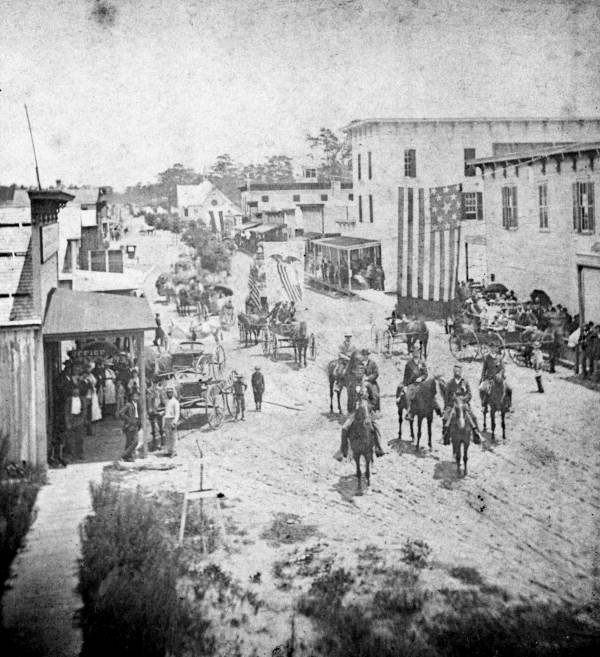 A streetscape of downtown DeLand before the fire.