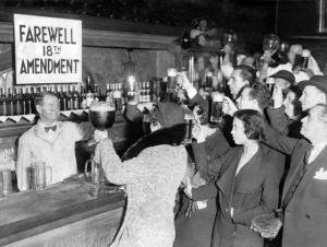 People clamor for alcohol after the 18th Amendment was repealed, when saloons were allowed back into downtown DeLand.