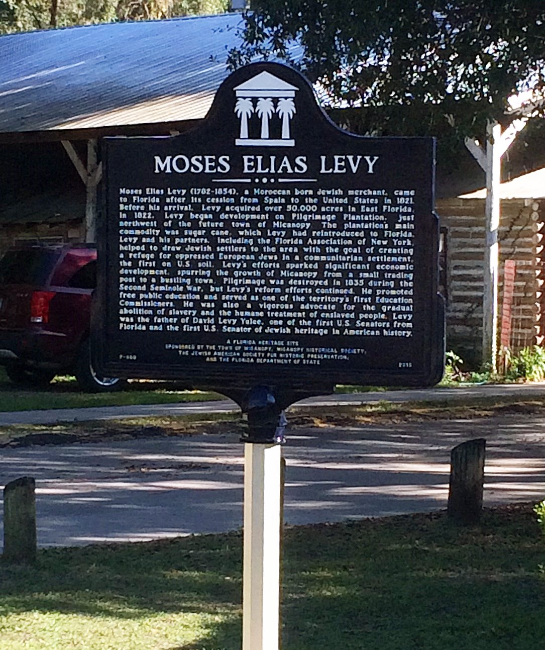 This marker commemorates the life of Moses Elias Levy and was dedicated in 2015 thanks to the Jewish American Society for Historic Preservation and the Florida Dept of State.