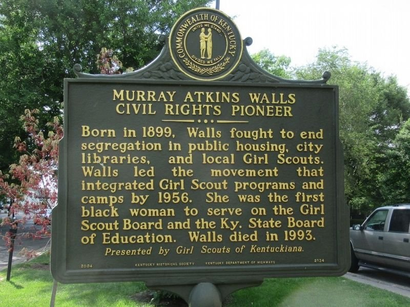 Murray Atkins Walls Civil Rights Pioneer historical marker erected by The Girl Scouts of Kentuckiana (Herrick).