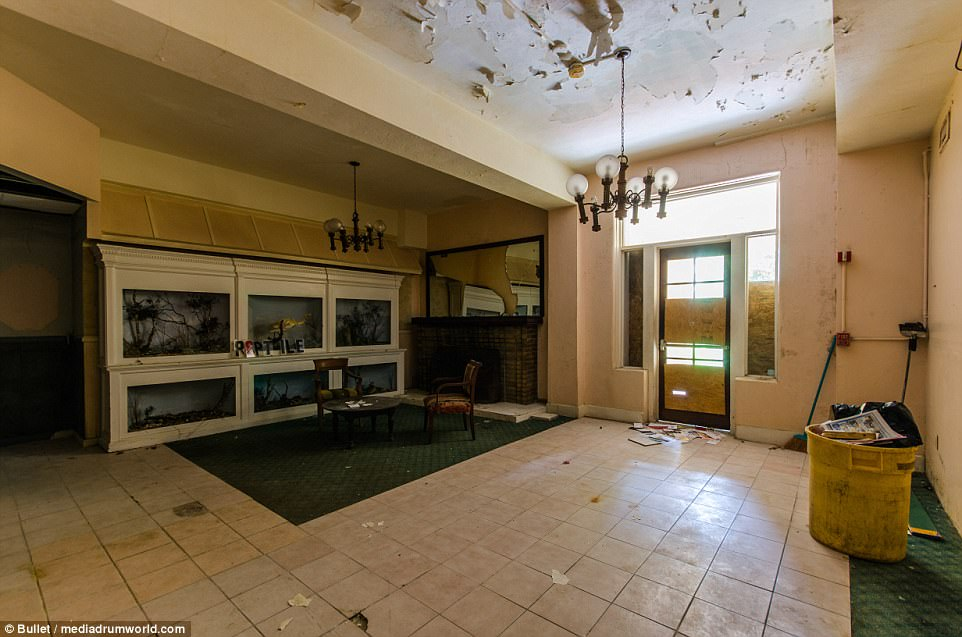 What was once the lobby of the hotel, which you first encounter upon walking into the door to the left of the courtyard.