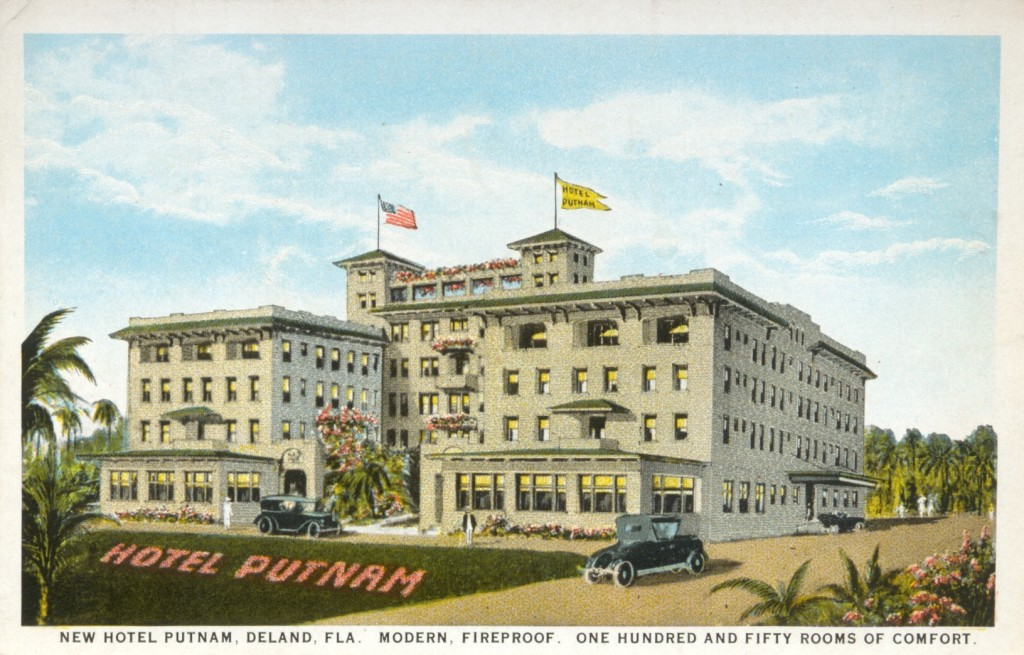 "An artist's depiction of the hotel on a postcard from around 1923--the text at the bottom reads ""New Hotel Putnam, Deland, Fla. Modern, Fireproof. One Hundred and Fifty Rooms of Comfort."""