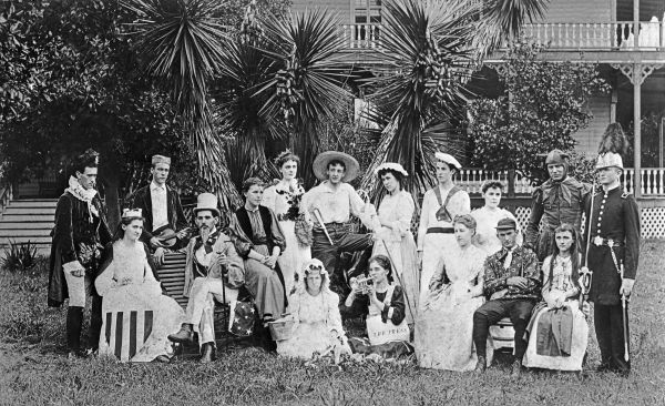 Stetson students gathered for a photo in front of the hotel, dressed for a play they performed there. This photo is from 1905, and so was taken in front of the first iteration of the hotel, prior to its burning down.