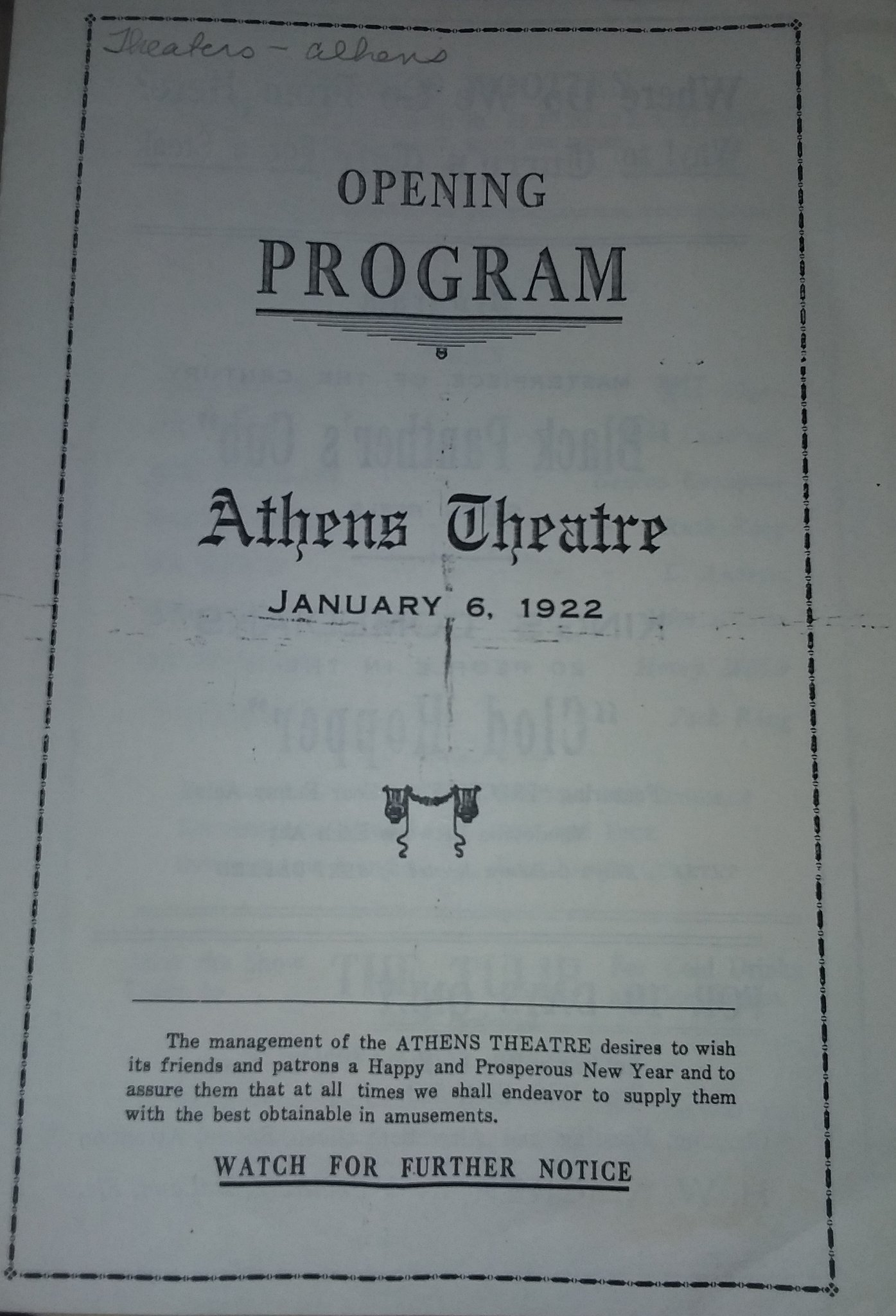 Opening Program 1922 (source: West Volusia Historical Society)
