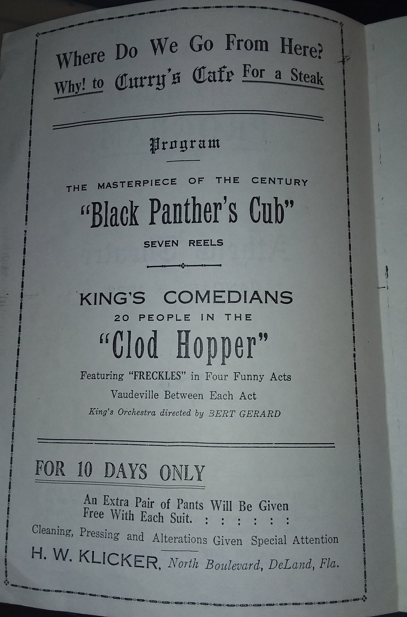Open Program 1922 (source: West Volusia Historical Society)