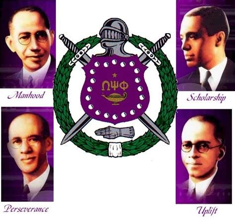 This shows the founding four members of Omega Psi Phi and the four key components: manhood, scholarship, perseverance, and uplift.