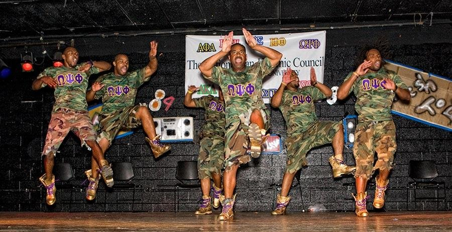 This is an example of members of Omega Psi Phi stepping.