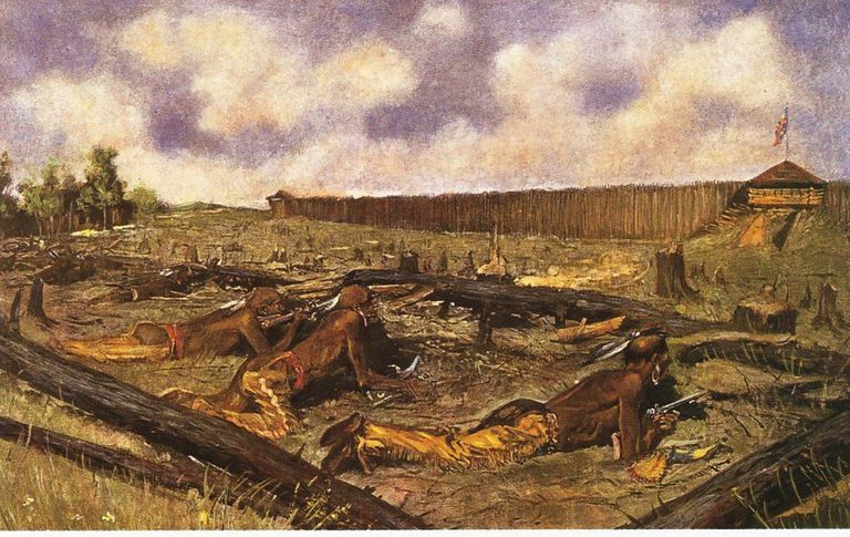 Native American soldiers taking position outside of Fort Detroit during siege.