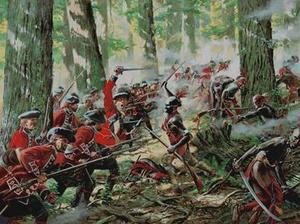 Pontiac's army and British army clashing at the Battle of Bloody Run.