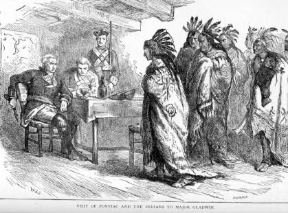 Leader of the rebellion, Pontiac, and other natives meeting with British military officers