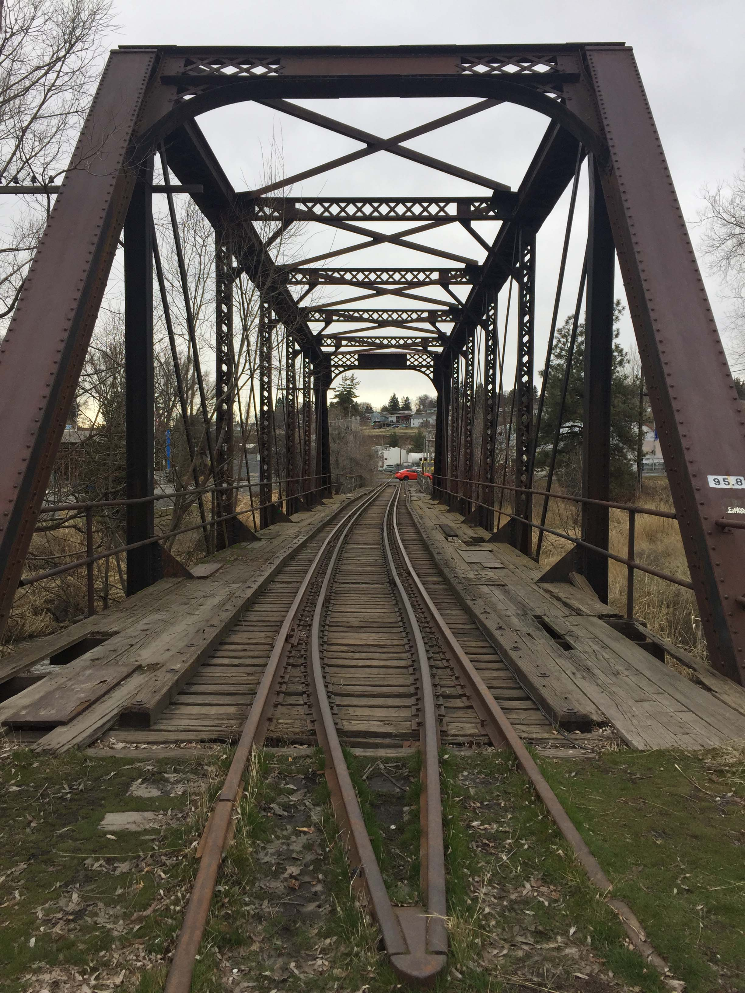 View looking through the bridge and down the tracks, taken February 2018.