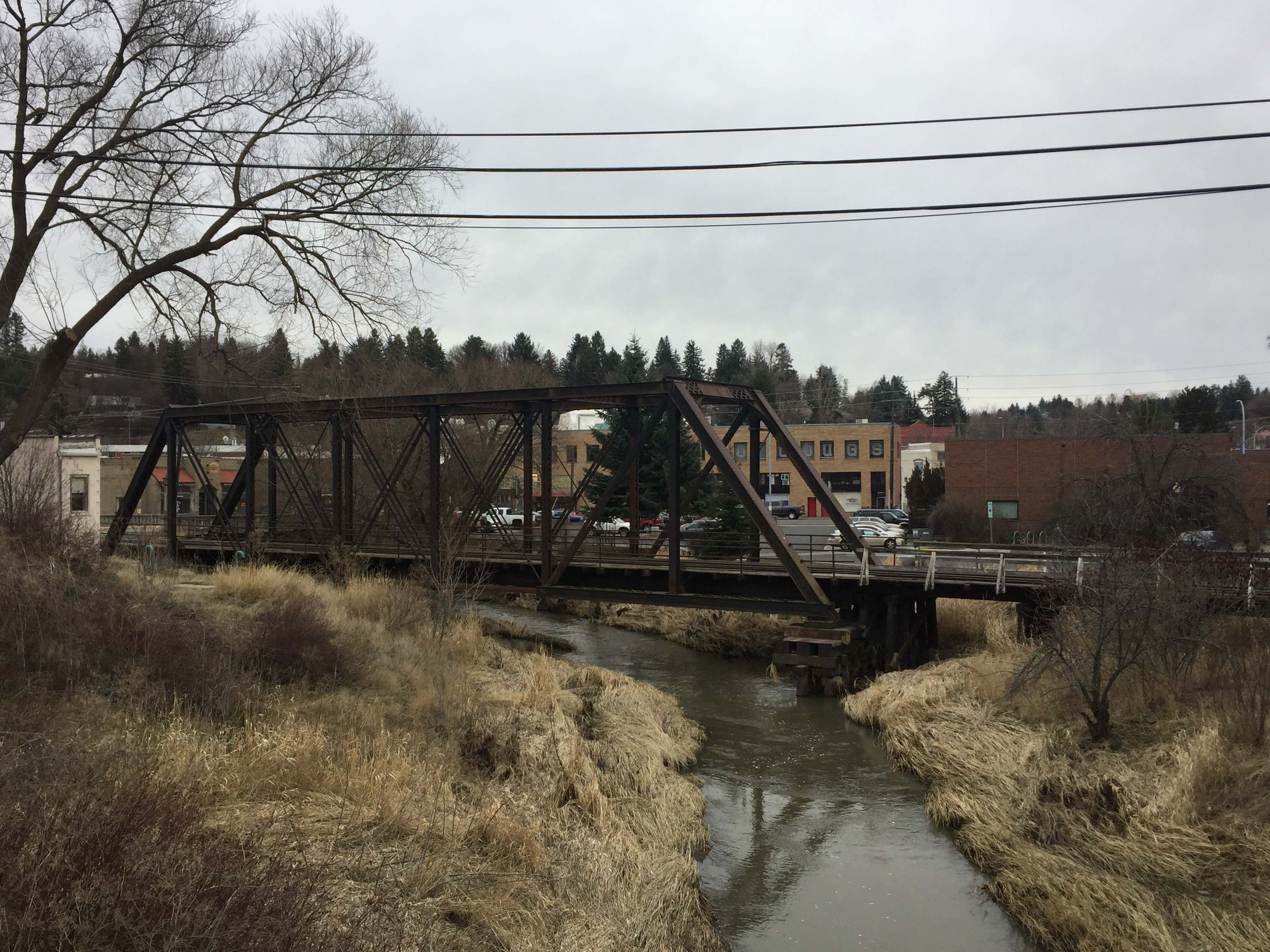 View looking back at the bridge, taken February 2018.