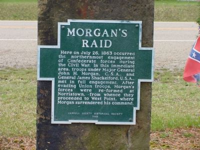 The marker placed at this location gives a short summary of the actions taken by both Morgan's men and Union soldiers around the area.