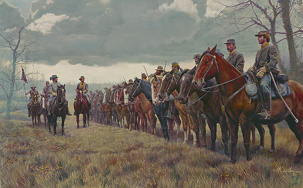 This painting depicts what Morgan and his raiders would've looked like as they raided the Ohio countryside.