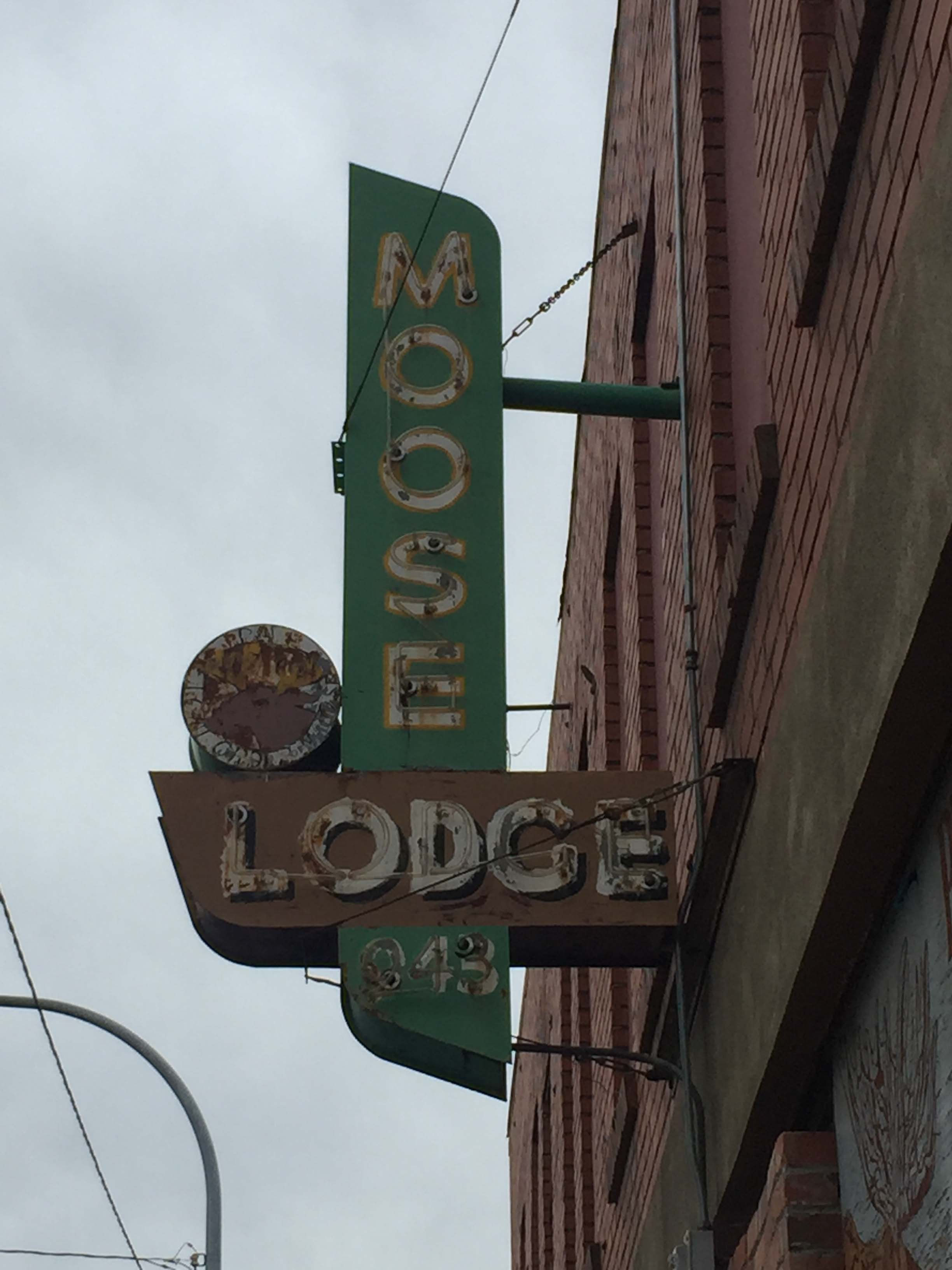 Moose Lodge signage on the building, taken February 2018.
