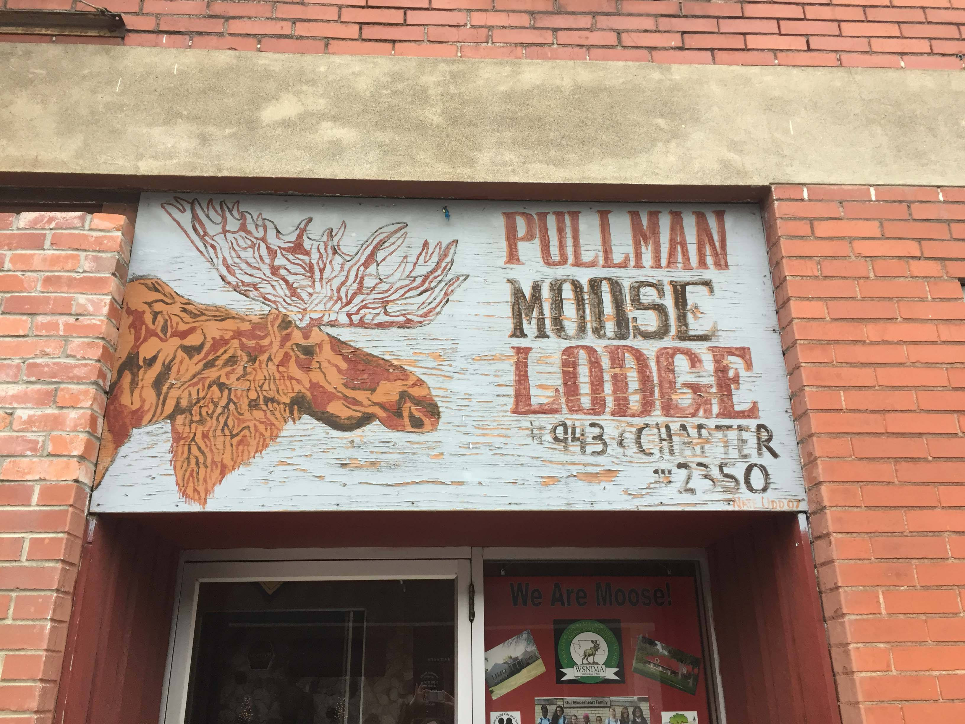 Pullman Moose Lodge signage, taken February 2018.