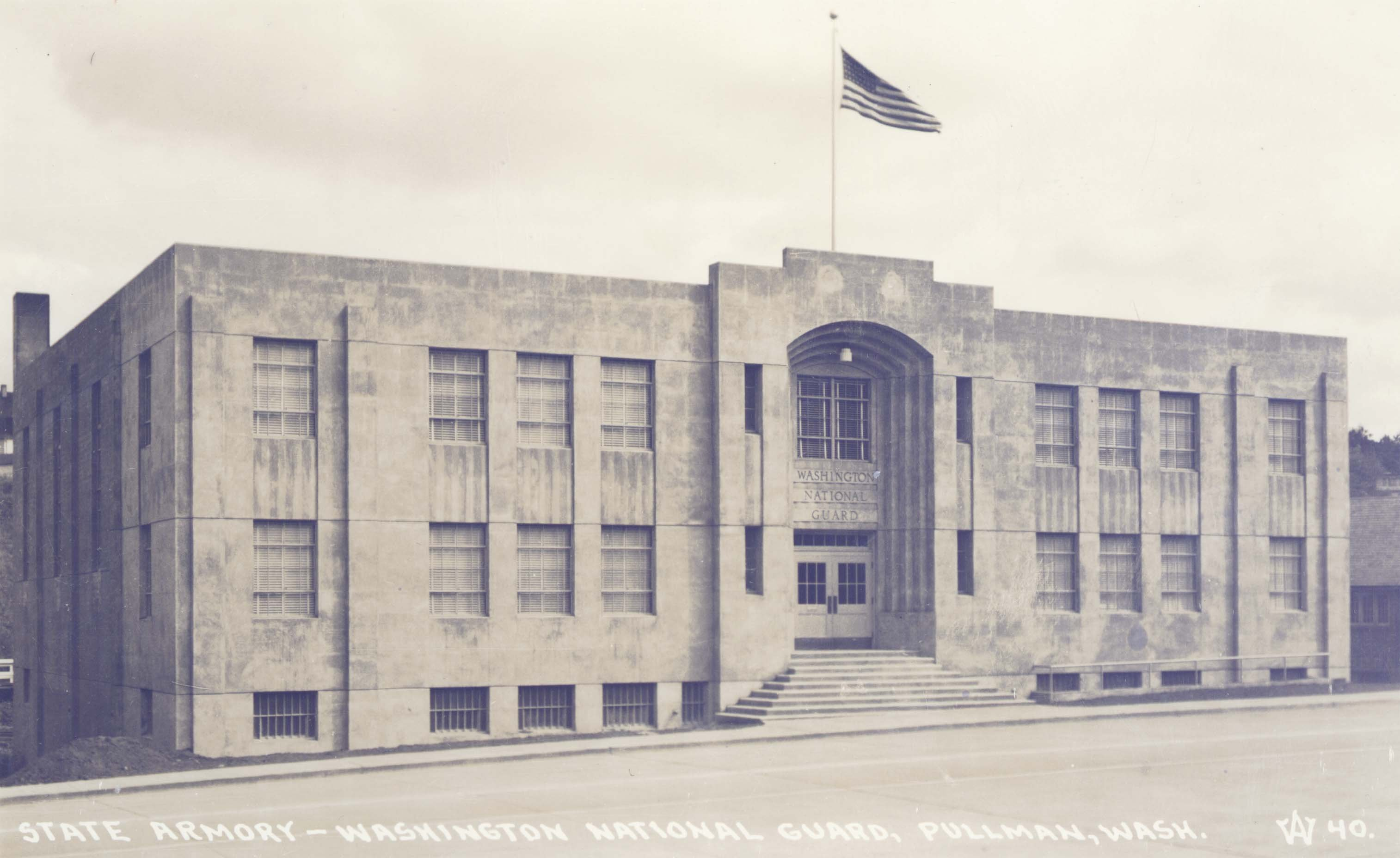 Postcard image of the State Armory - Washington National Guard Building. Courtesy WSU Special Collections.