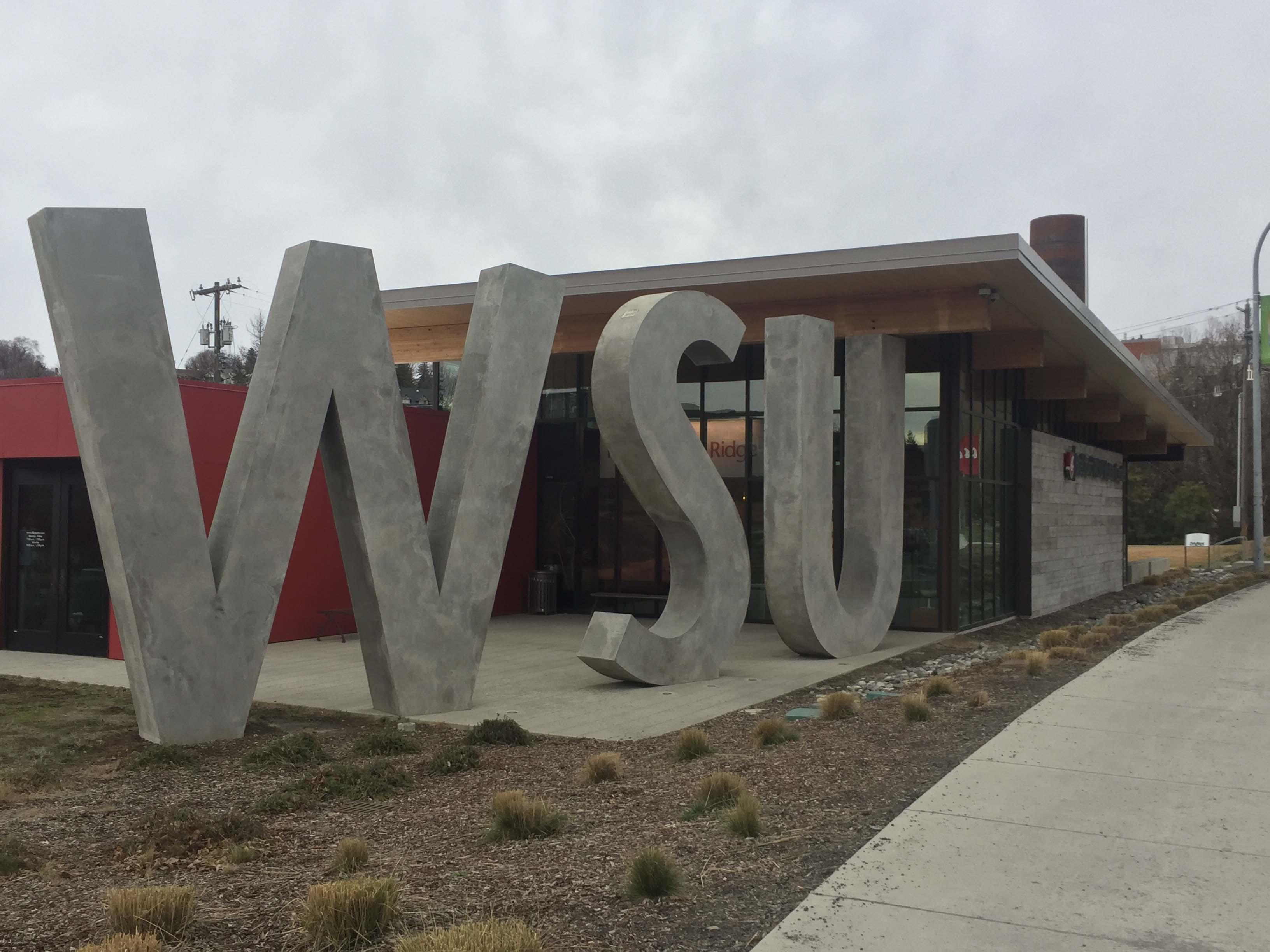 "View of the ""WSU"" letters at the visitor center, taken February 2018."