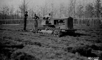 """""""Tree Lifter in Operation at Chittenden Nursery."""" Photo from The Forest History Society"""