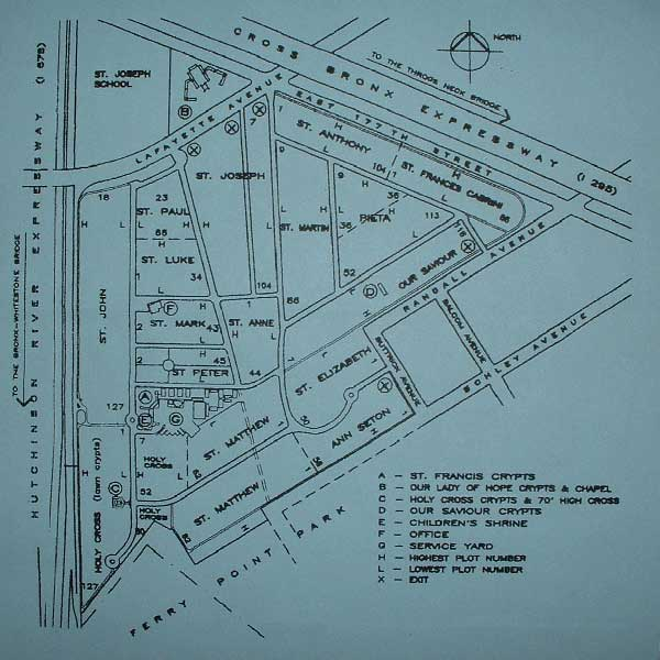 Detailed map of New Saint Raymond's Cemetery in Bronx NY. Holiday's burial site is in the St. Paul section, Row 56, Grave #29.